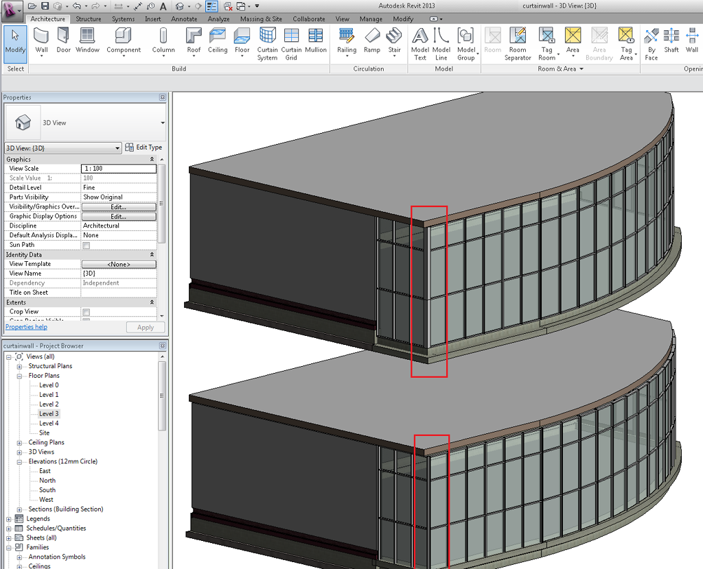 Curtain wall / mullion corners in Revit | BIMopedia